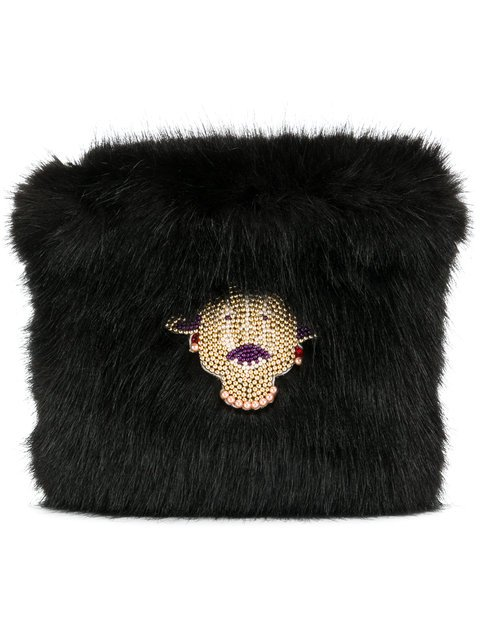Shrimps Faux Fur Clutch - Farfetch