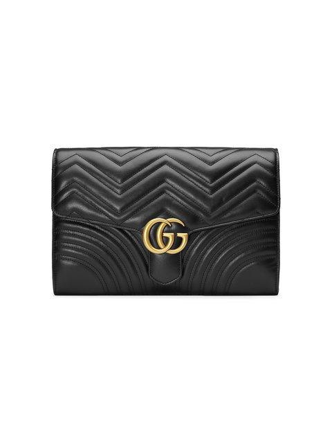 Gucci Black GG Marmont Leather Clutch Bag - Farfetch