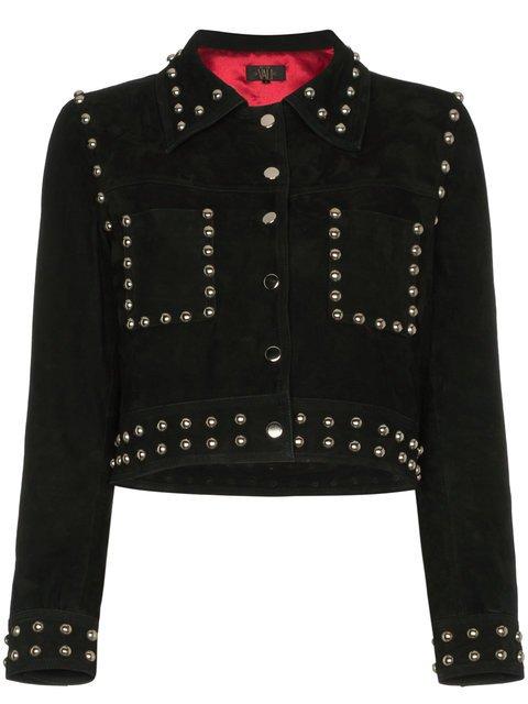 De La Vali Billy Ray Studded Cropped Suede Jacket - Farfetch