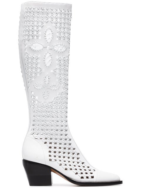 Chloé White Reilly 70 Cut Out Leather Boots - Farfetch