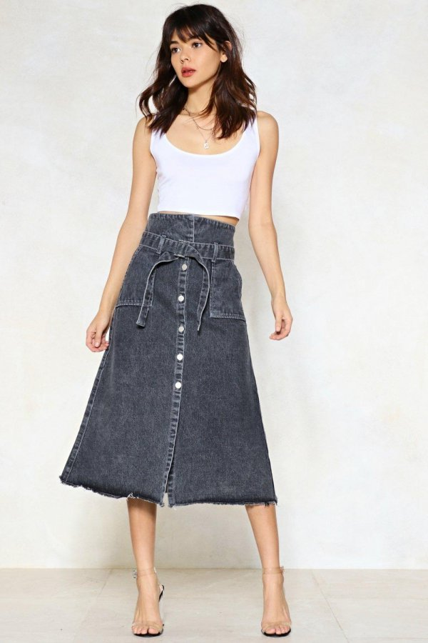 Stuck in the Midi With You Denim Skirt