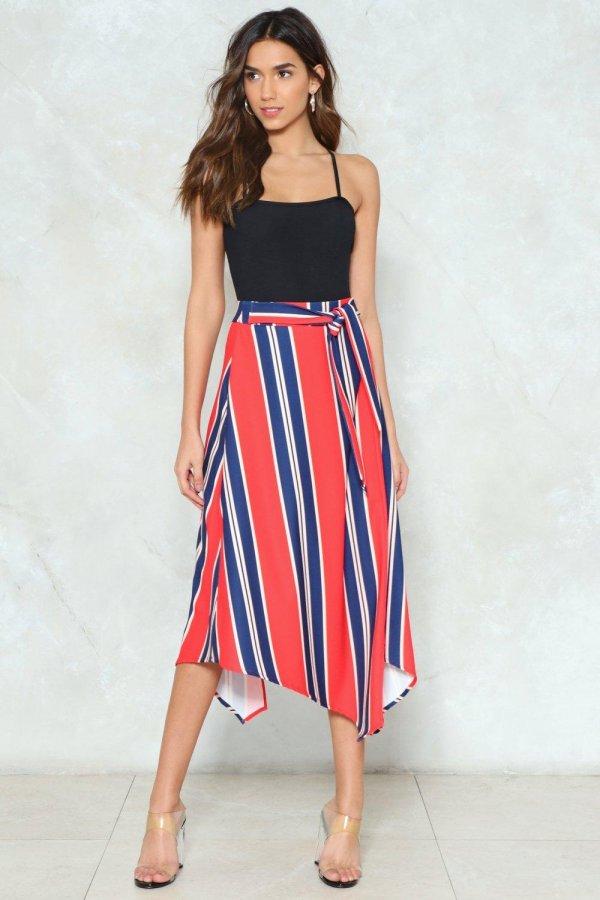 In Your Stripe Mind Midi Skirt