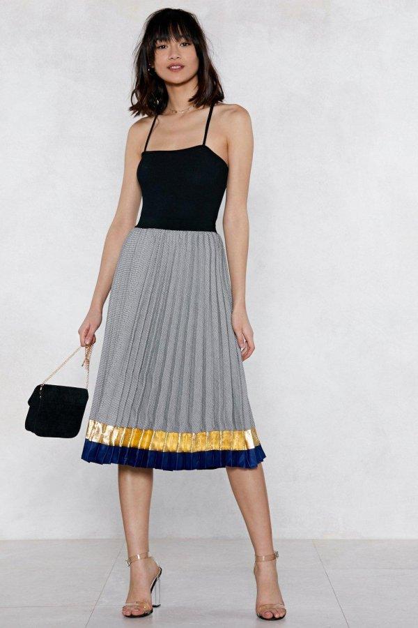 Pleat Up Midi Skirt