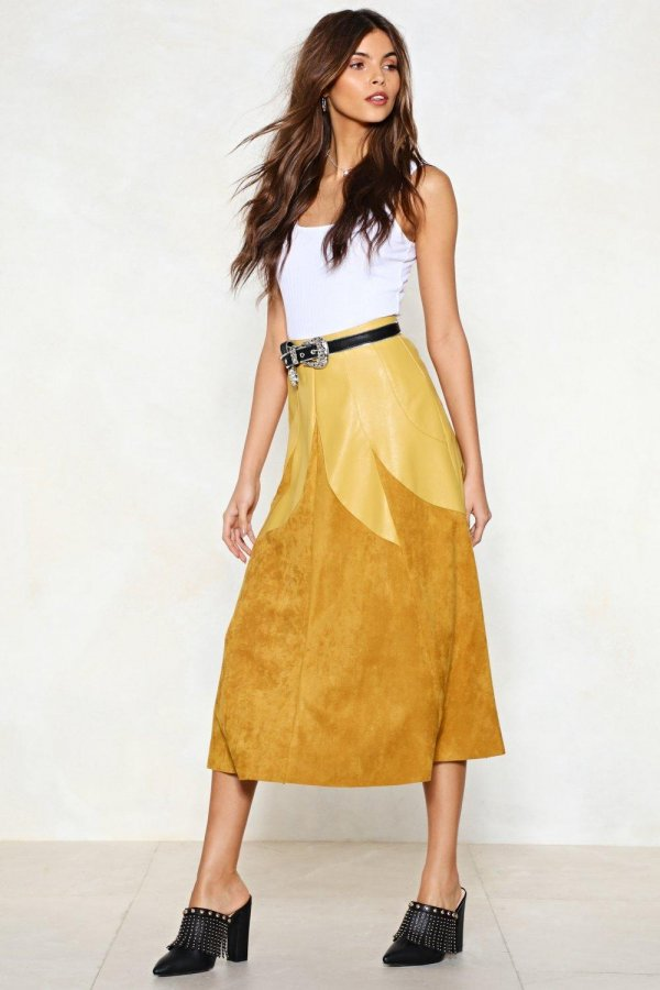 Know a Thing or Two Vegan Suede Skirt