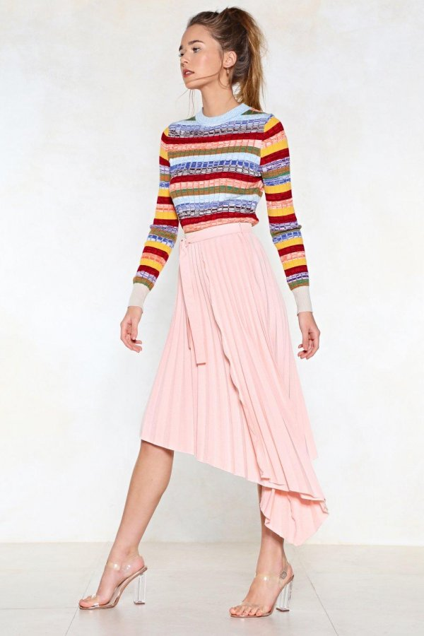 Turn the Pleat Up Midi Skirt