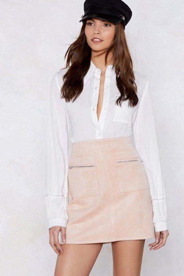 Looks Suede Mini Skirt