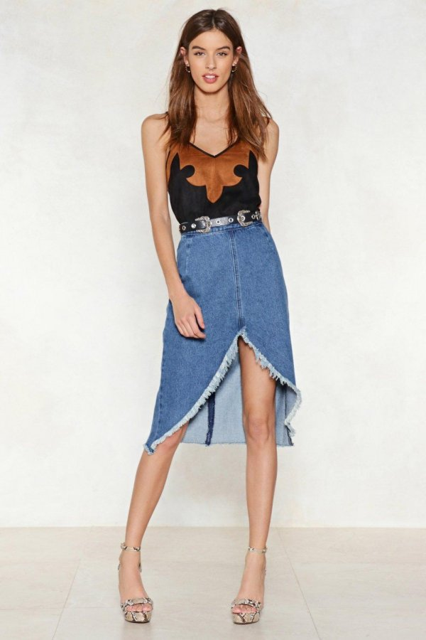At First I Was A-Frayed Denim Skirt