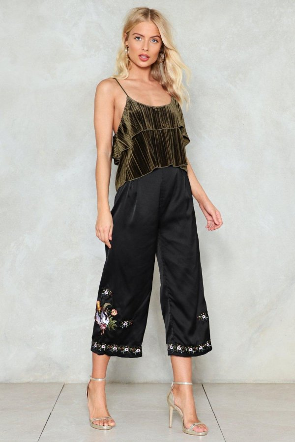 Sheen There Done That Embroidered Culottes