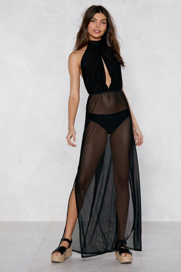 See You Sheer Halter Cover-Up Dress