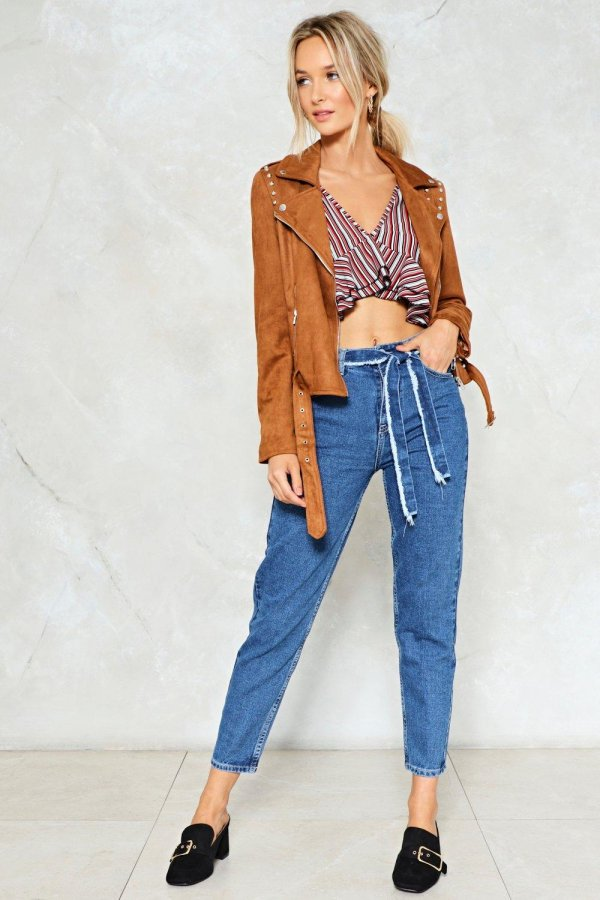 A-frayed Not Belted Jeans