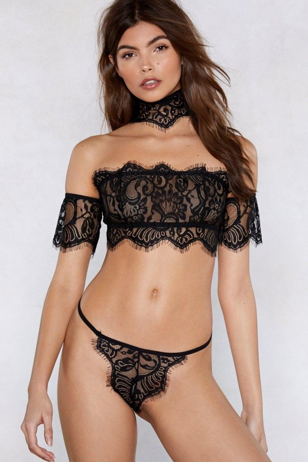 It\'s All in the Details Lace Choker Bralette and Thong Set