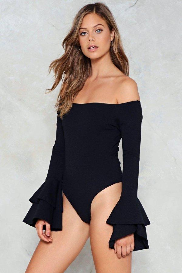Ladies Night Off-the-Shoulder Bodysuit
