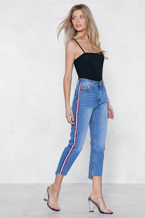 You\'re Absolutely Stripe High-Waisted Jeans