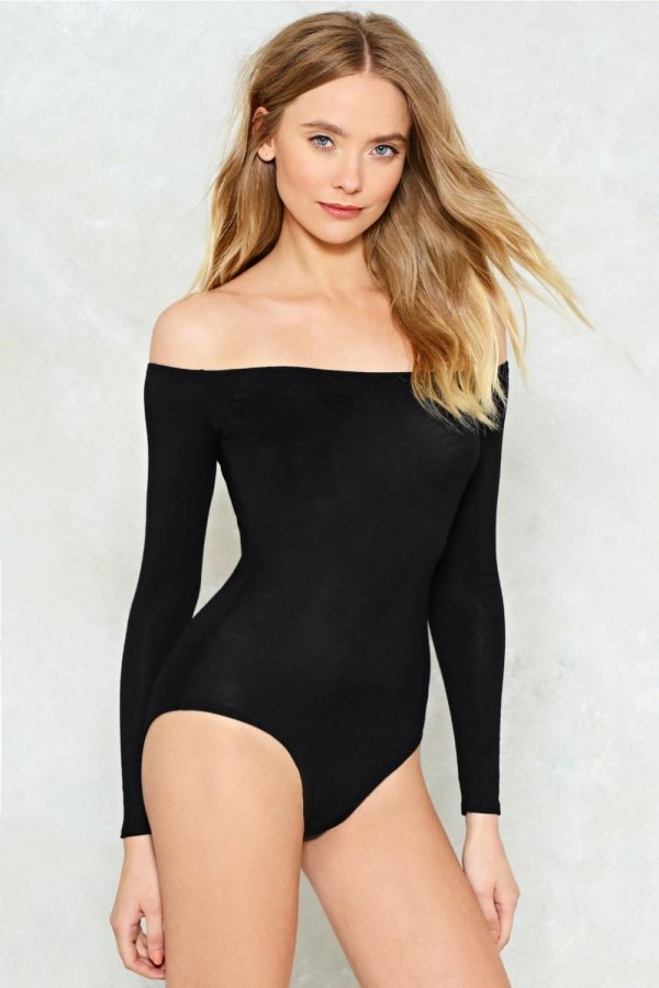 Going Back to Basics Off-the-Shoulder Bodysuit
