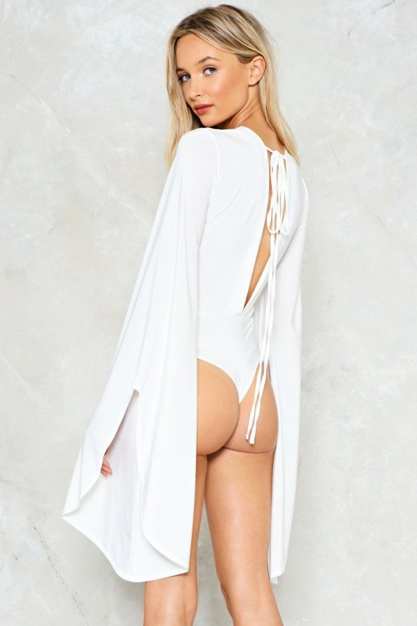Sleeve It to Me Plunging Bodysuit