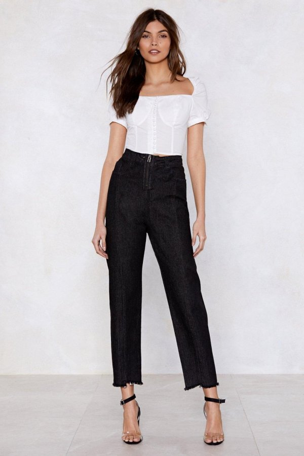 Zip and Happening High-Waisted Jeans
