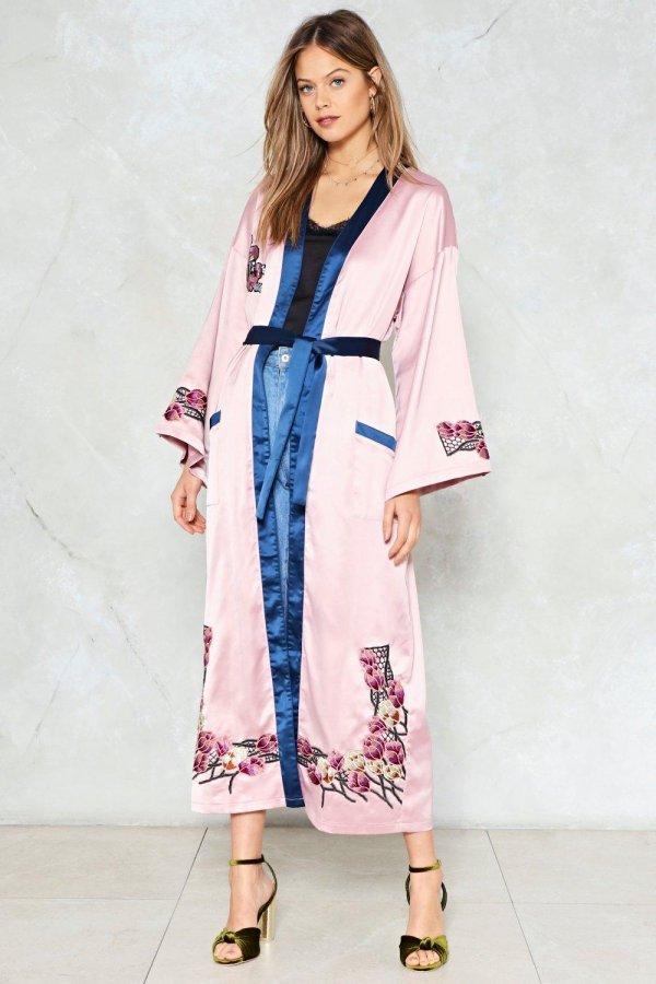 Ready Steady Grow Satin Kimono