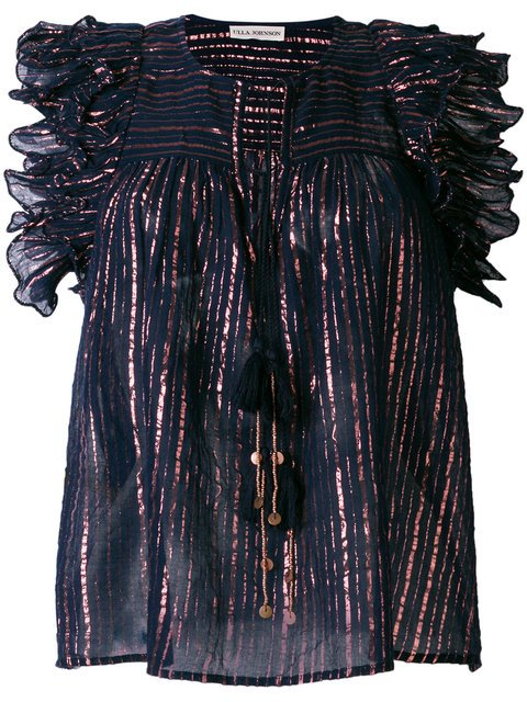 Ulla Johnson Metallic Stripe Blouse With Frill Trim - Farfetch