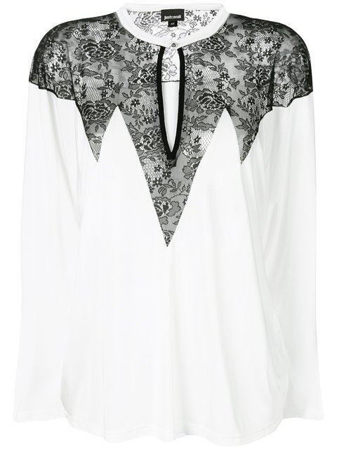 Just Cavalli Lace Panel Long Sleeve Blouse - Farfetch