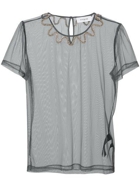 Coach Sheer Embellished Neck T-shirt - Farfetch