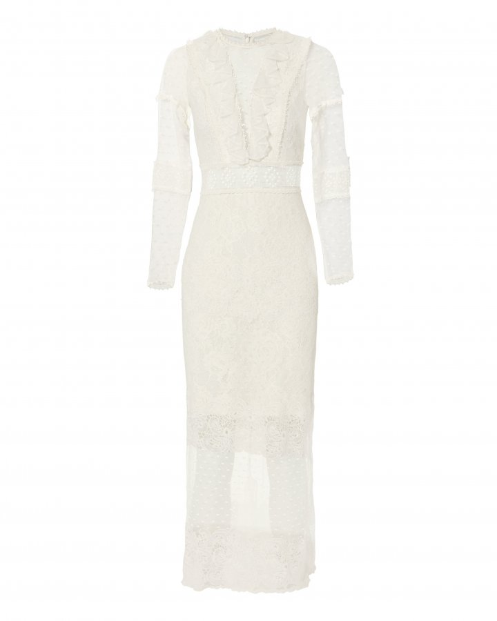 Elize White Lace Midi Dress