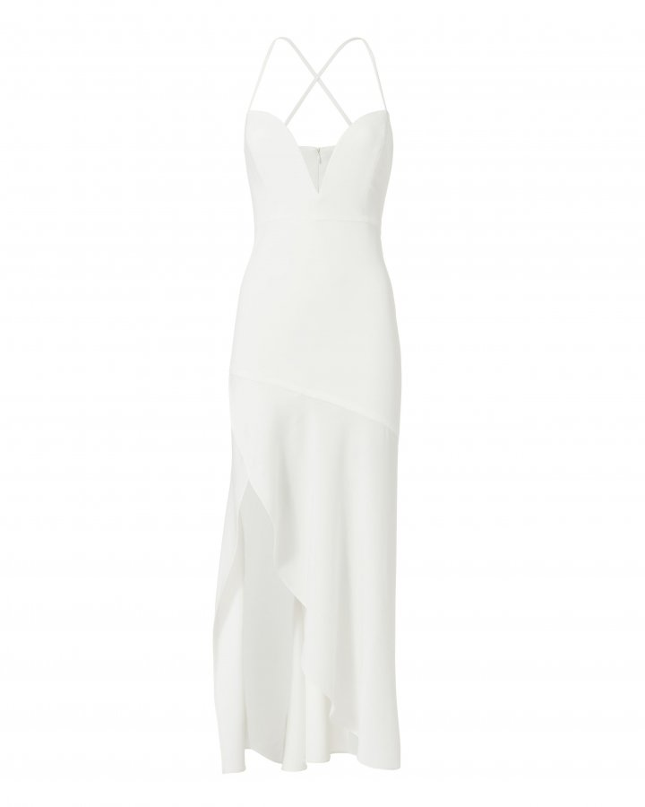 Plunging Neck White Evening Dress