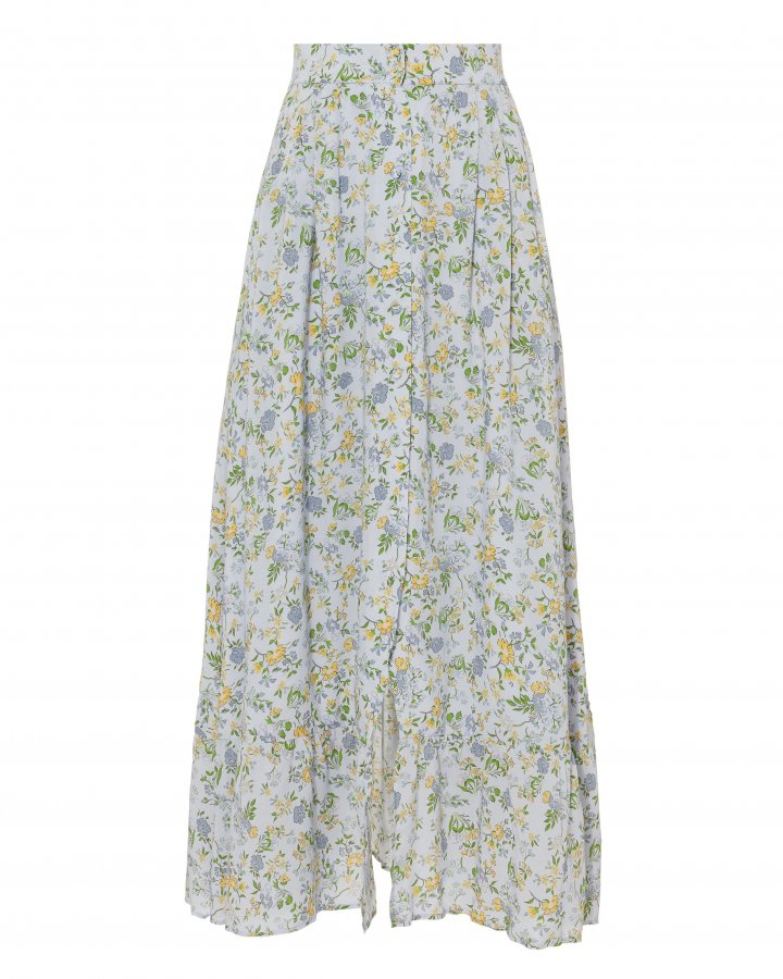 Button Front Midi Floral Skirt