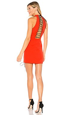 Valerie Lace Up Dress in Poppy