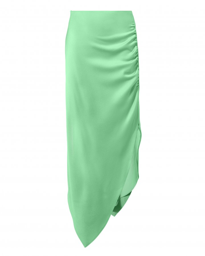 Satin Ruched Asymmetrical Skirt