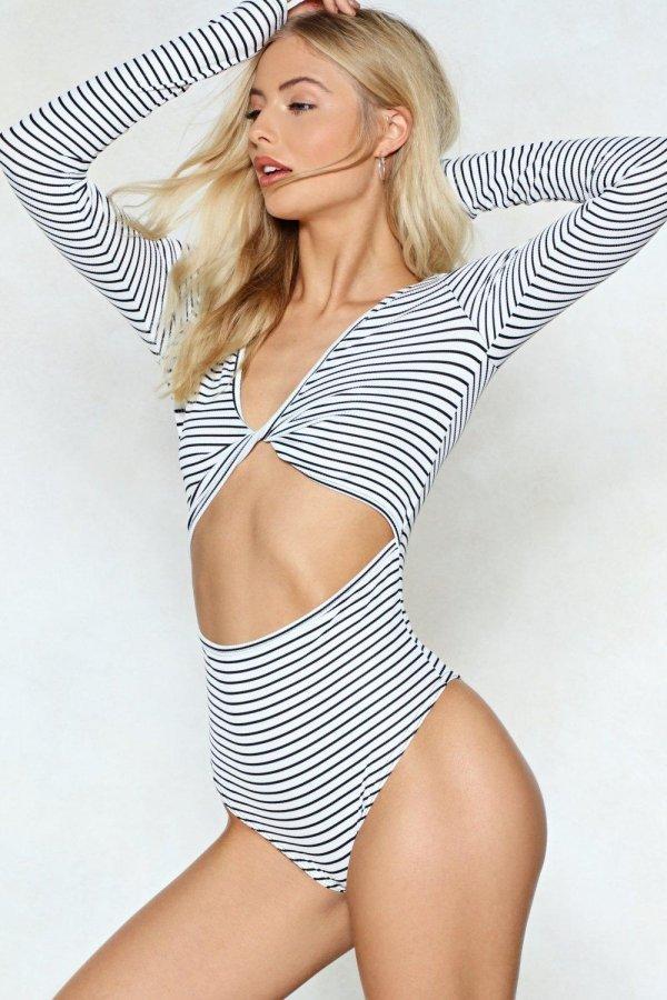 Knot Now Striped Bodysuit