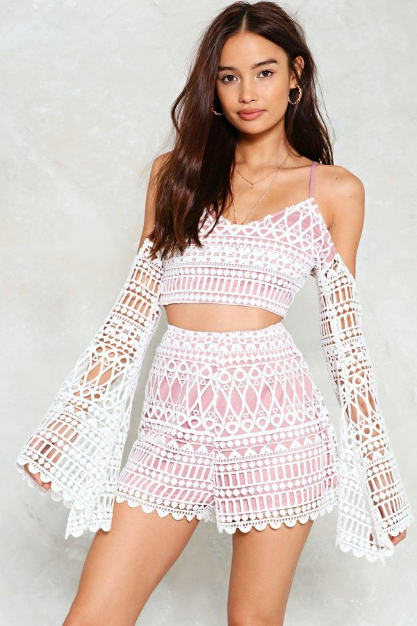 Lover Undercover Crochet Top and Shorts Set