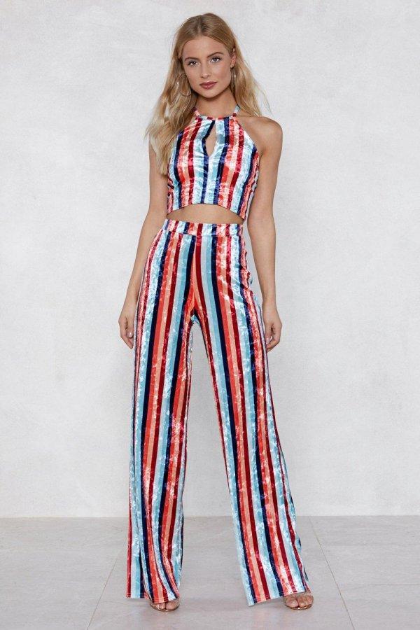 Stripe to the Dance Floor Velvet Top and Pants Set