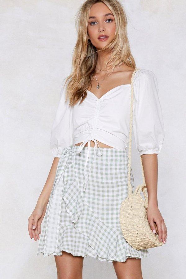 Vacay Romance Gingham Skirt