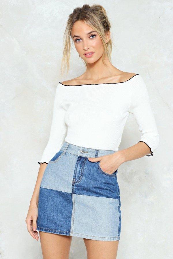 Not Got a Patch on You Denim Mini Skirt