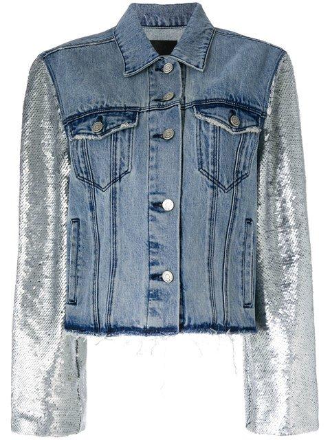 Rta Metallic-sleeve Frayed Denim Jacket - Farfetch