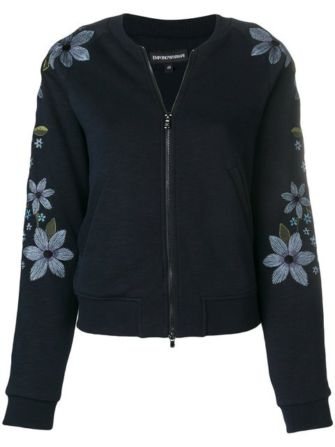 Emporio Armani Floral Embroidered Bomber Jacket - Farfetch
