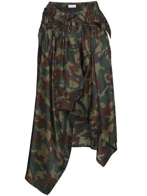 Faith Connexion Silk Camouflage Skirt With Waist Tie - Farfetch