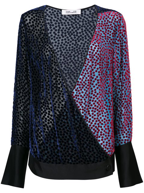 Diane Von Furstenberg V-neck Semi-sheer Burnout Velvet Top - Farfetch