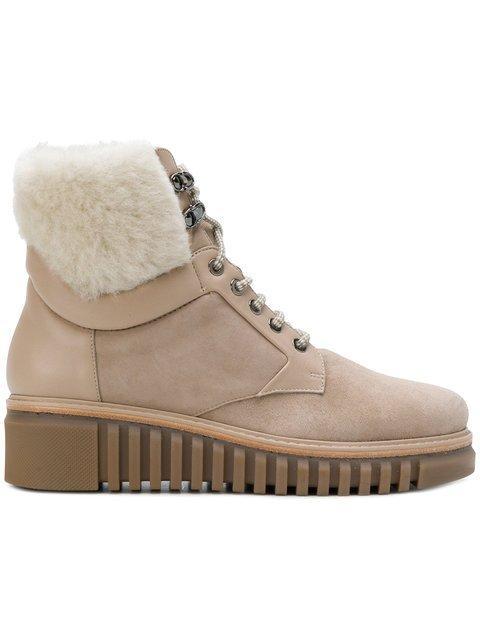 Loriblu Leather And Fur Trim Ankle Boots - Farfetch