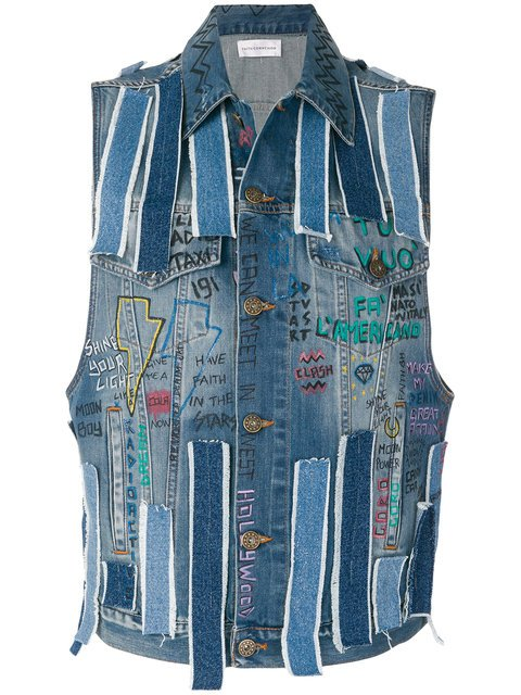 Faith Connexion Sleeveless Graffiti Denim Jacket - Farfetch