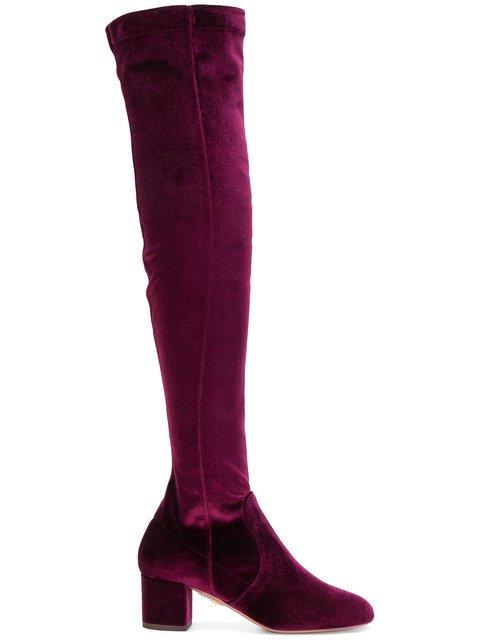 Aquazzura Velvet Knee-length Boots - Farfetch