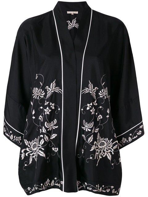 Gold Hawk Floral Embroidered Kimono - Farfetch