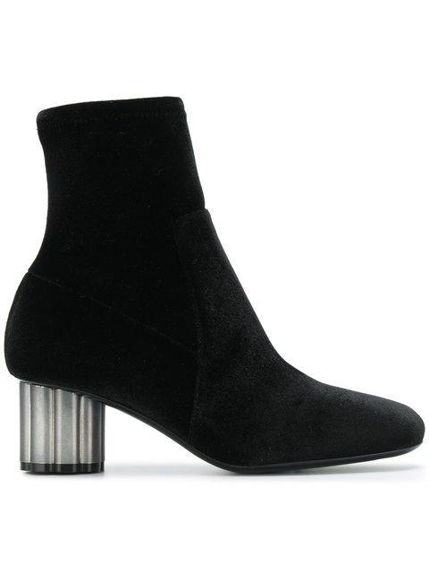 Salvatore Ferragamo Flower Heel Ankle Boots - Farfetch