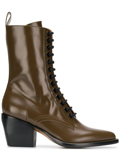 Chloé Chunky Heel Lace Up Boots - Farfetch