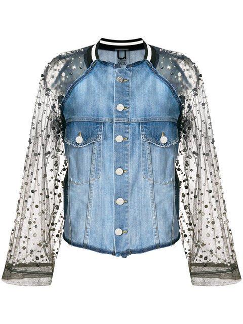 Aviù Embellished Mesh Panelled Denim Jacket - Farfetch