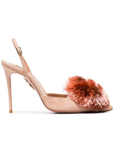 Aquazzura Pink Powder Puff 105 Suede Slingbacks - Farfetch