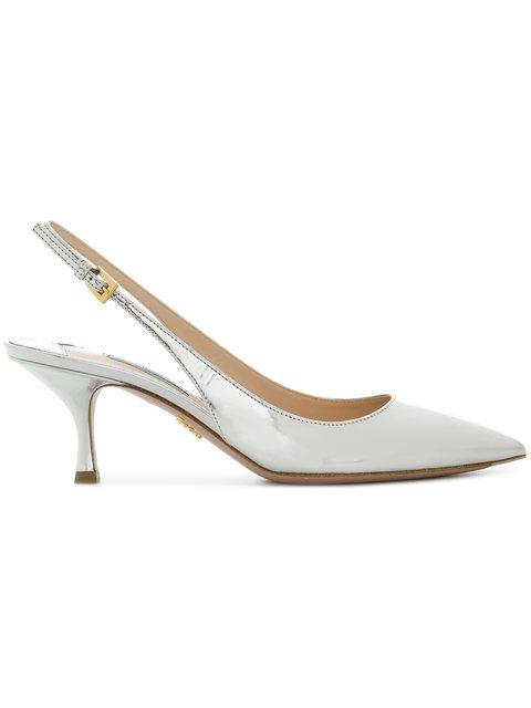Prada Metallic Sling-back Pumps - Farfetch