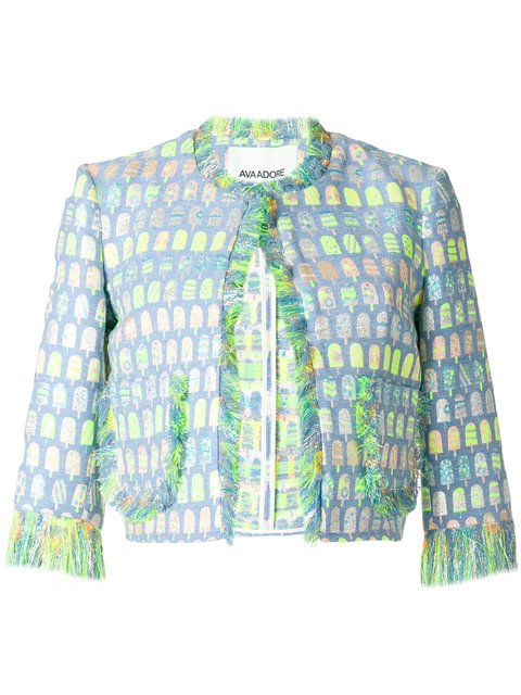 Ava Adore Patterned Cropped Raw Edge Jacket - Farfetch