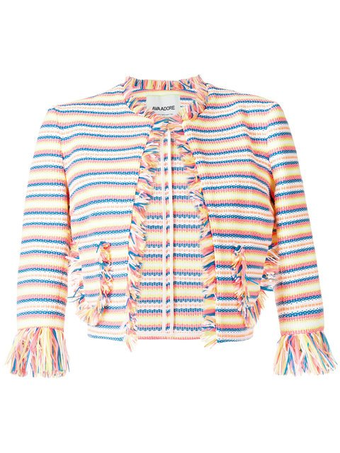 Ava Adore Striped Cropped Raw Edge Jacket - Farfetch
