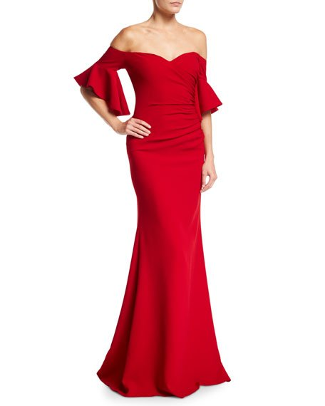 Badgley Mischka Off-the-Shoulder Ruched Crepe Evening Gown